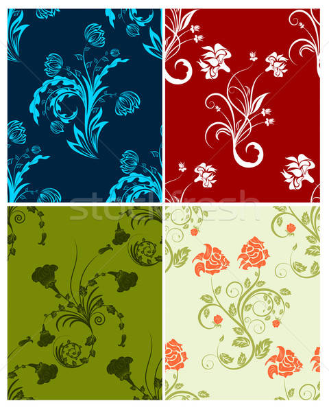 set of color flowers backgrounds Stock photo © angelp
