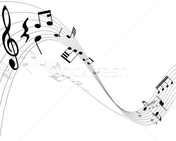 Note musicali linee sfondo discoteca pittura nero Foto d'archivio © angelp