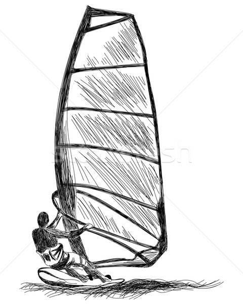 Het windsurfen schets vector eps 10 illustratie Stockfoto © angelp