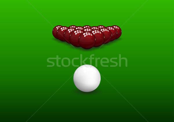 Snooker piramis golyók fényes zöld absztrakt Stock fotó © angelp