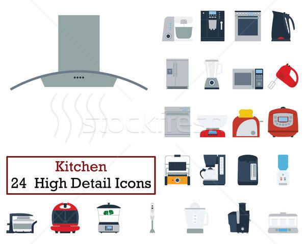 セット 24 キッチン アイコン 色 ストックフォト © angelp