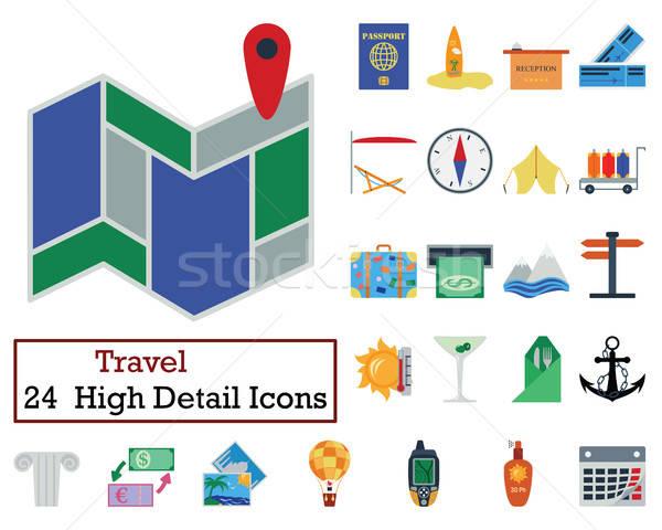 набор 24 путешествия иконки цвета Сток-фото © angelp