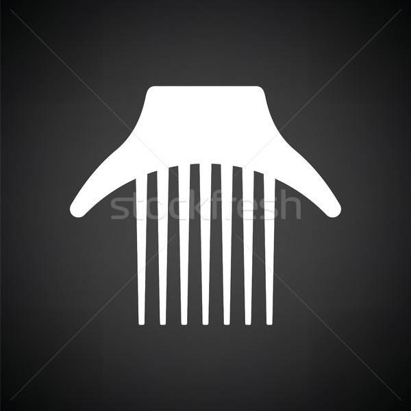 Tarak ikon siyah beyaz saç siyah çizim Stok fotoğraf © angelp
