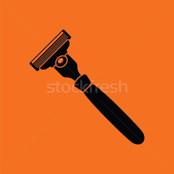 Stock fotó: Biztonság · borotva · ikon · narancs · fekete · haj