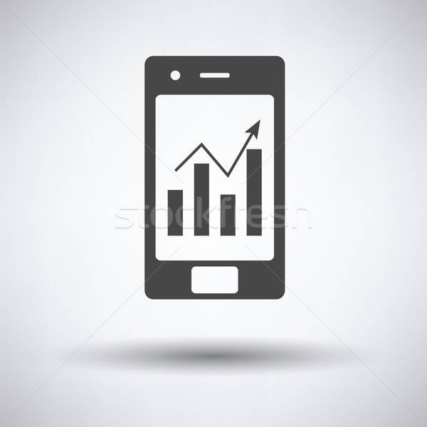 Smartphone analytics diagramme icône gris affaires Photo stock © angelp