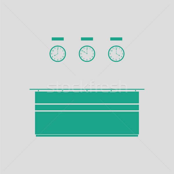 Escritório recepção secretária ícone cinza verde Foto stock © angelp