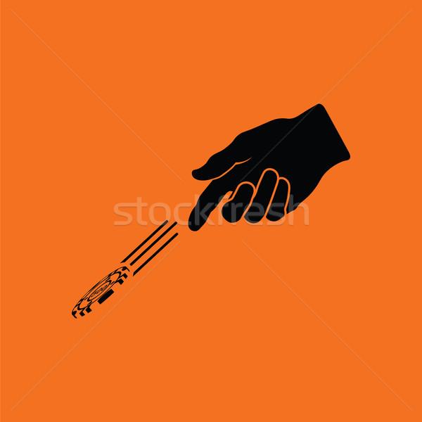 Foto stock: Mão · jogar · batatas · fritas · ícone · laranja