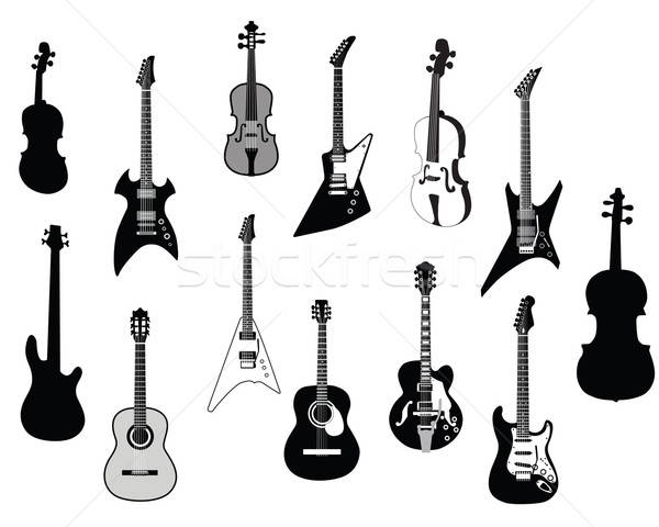Guitars silhouettes Stock photo © angelp