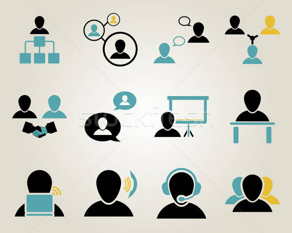 Office and people icon set Stock photo © angelp
