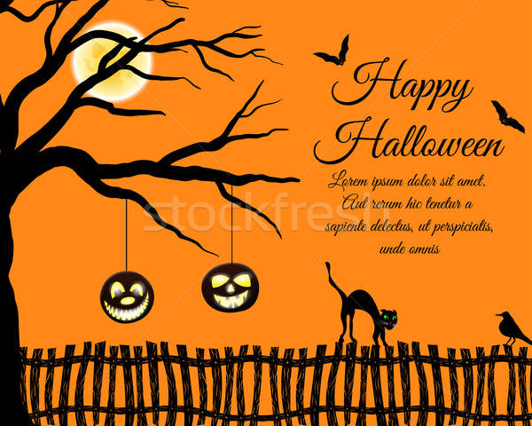Halloween wenskaart gelukkig elegante ontwerp boom Stockfoto © angelp