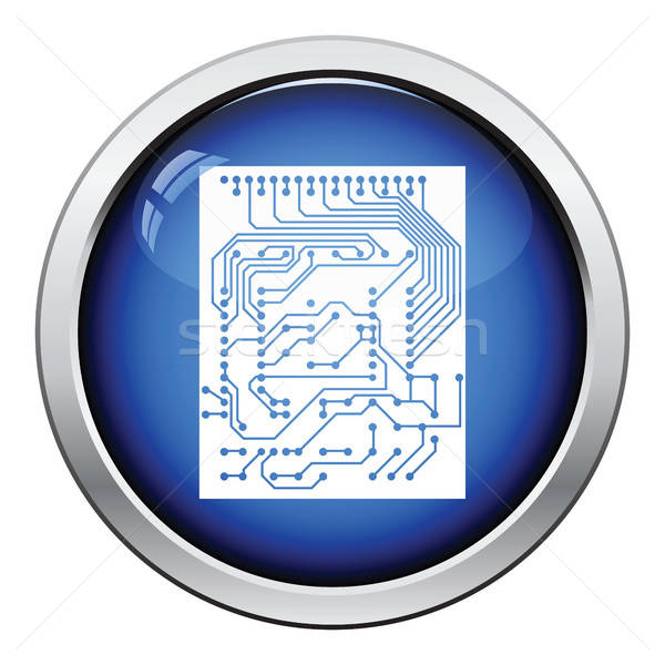 Circuit icon glanzend knop ontwerp abstract Stockfoto © angelp