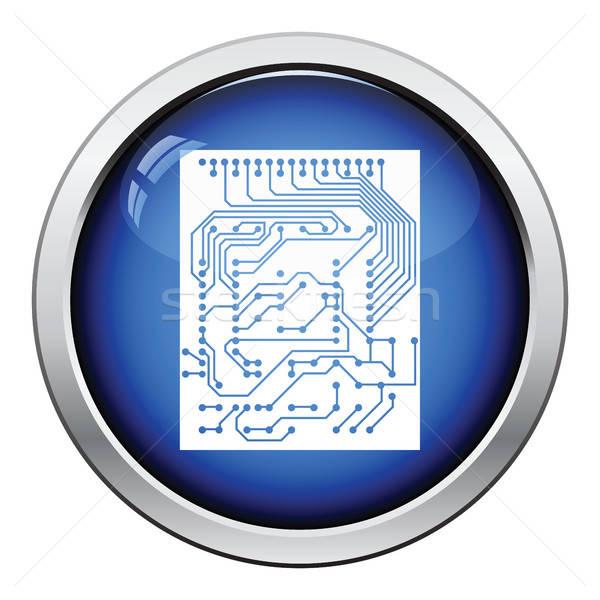 Obwodu ikona przycisk projektu streszczenie Zdjęcia stock © angelp
