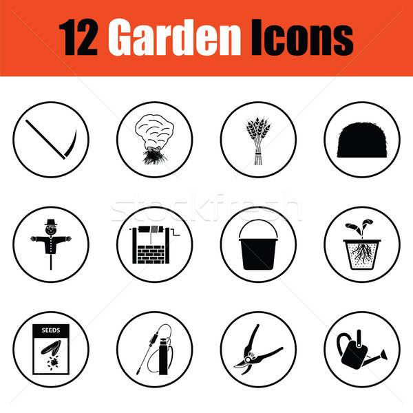 Stockfoto: Ingesteld · tuinieren · iconen · dun · cirkel