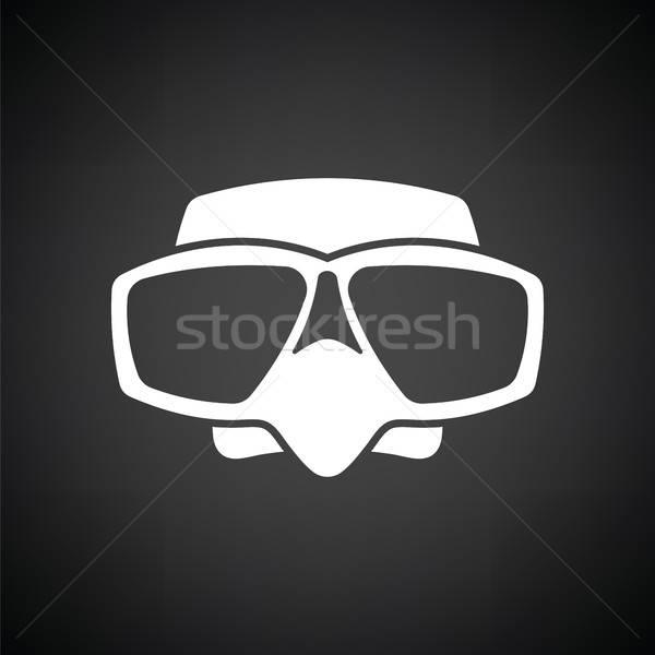 Ikon skuba maske siyah beyaz plaj spor Stok fotoğraf © angelp