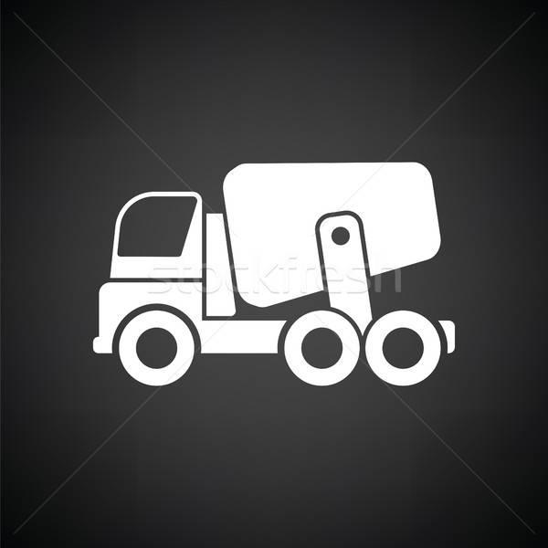 アイコン 具体的な ミキサー トラック 黒白 道路 ストックフォト © angelp