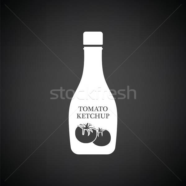 томатный кетчуп икона черно белые ресторан черный Сток-фото © angelp