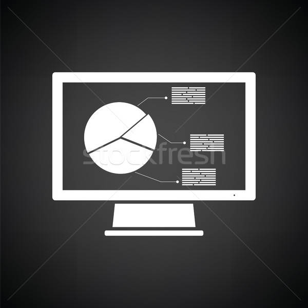 Monitor analytics diagram icon zwart wit computer Stockfoto © angelp