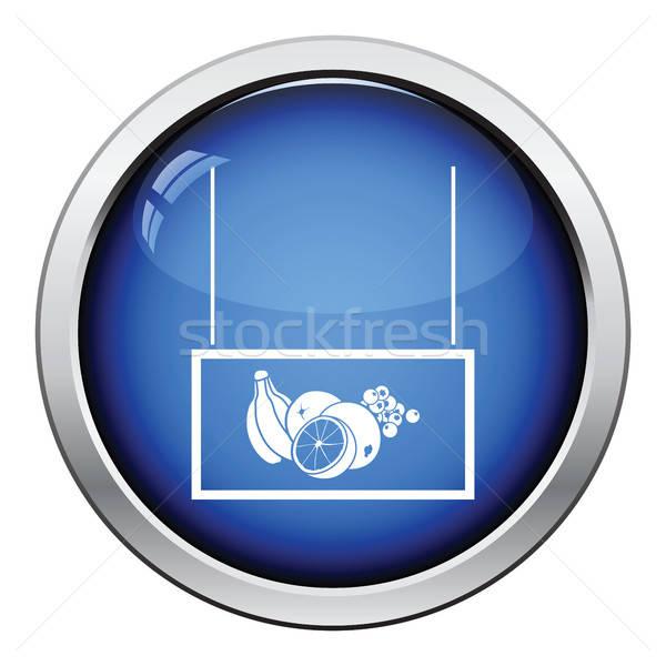 Vruchten markt afdeling icon glanzend knop Stockfoto © angelp