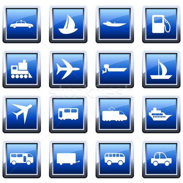 Transporte conjunto diferente vetor os ícones do web Foto stock © angelp