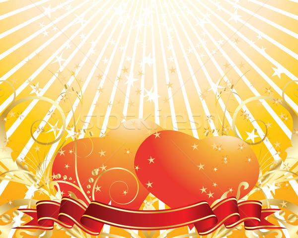 バレンタイン 日 フローラル グリーティングカード 心 花 ストックフォト © angelp