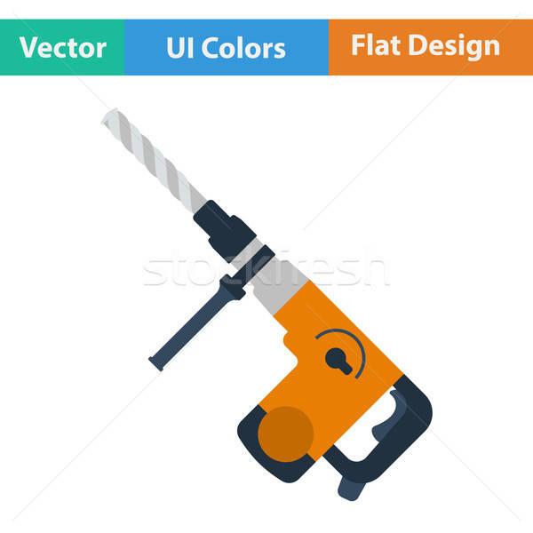 Flat design icon of electric perforator Stock photo © angelp