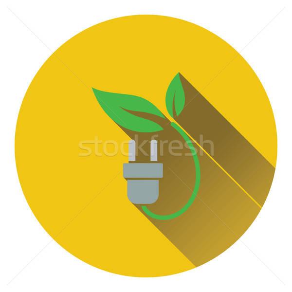 Elettrici plug foglie icona terra energia Foto d'archivio © angelp