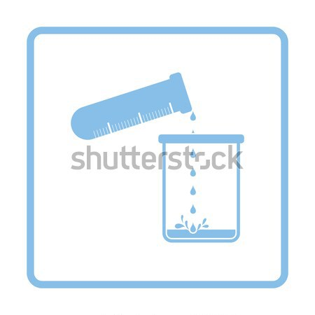 Icon of chemistry beaker pour liquid in flask Stock photo © angelp