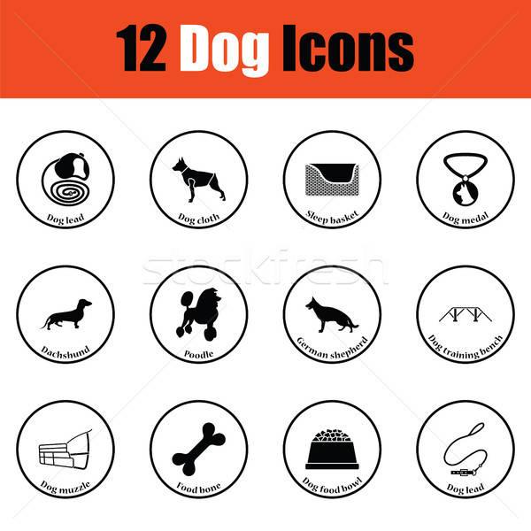 Conjunto cão criação ícones fino Foto stock © angelp