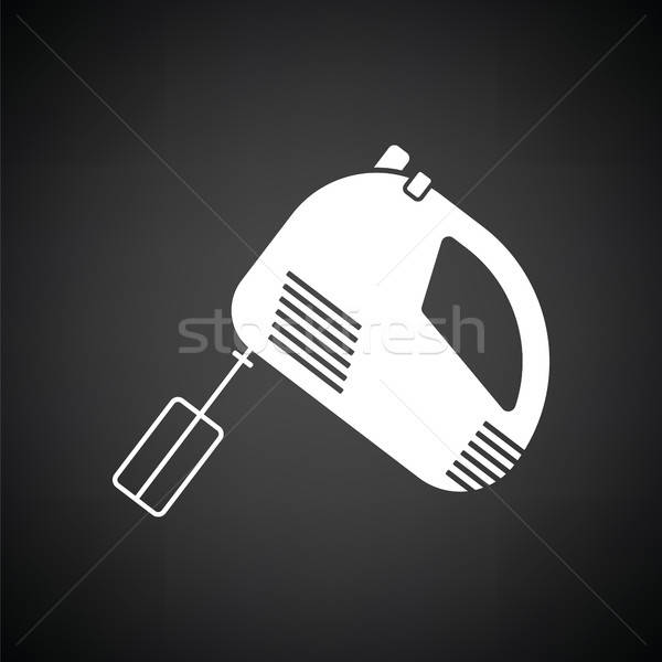 Konyha kéz keverő ikon feketefehér háttér Stock fotó © angelp
