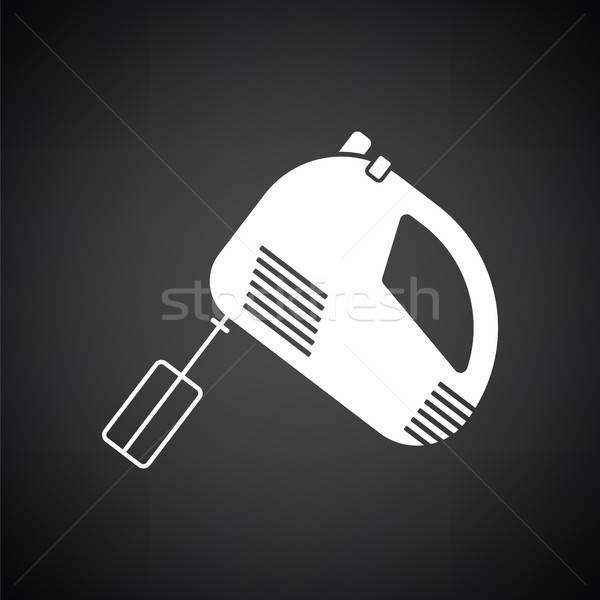 Cuisine main mixeur icône blanc noir fond Photo stock © angelp