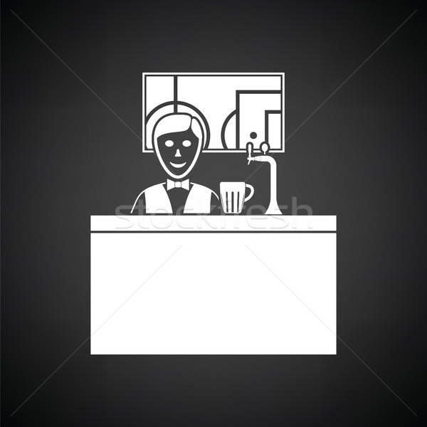 Sport bar stand barman derrière football Photo stock © angelp