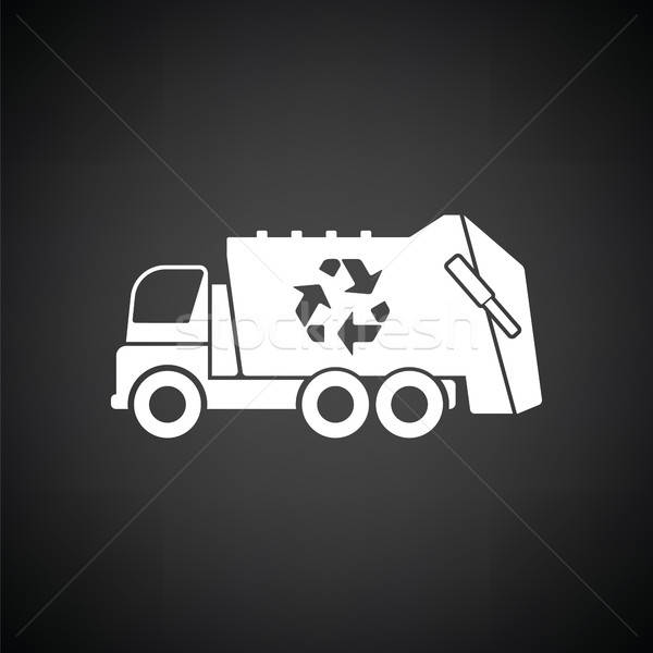 Vuilnis auto recycleren icon zwart wit vrachtwagen Stockfoto © angelp
