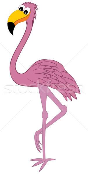 Vicces rajz flamingó rajzfilmfigura rózsaszín áll Stock fotó © angelp