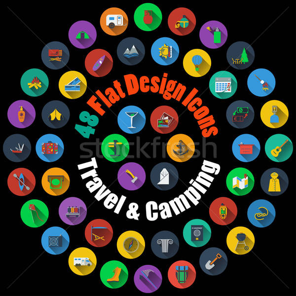 Travel and Camping Icons  Stock photo © angelp