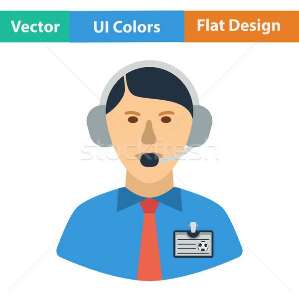 Flat design icon of football commentator Stock photo © angelp