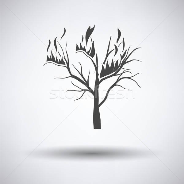 Wildfire ikona szary drzewo ognia lasu Zdjęcia stock © angelp