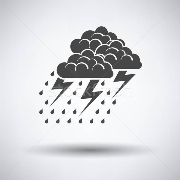Onweersbui icon grijs regen web energie Stockfoto © angelp