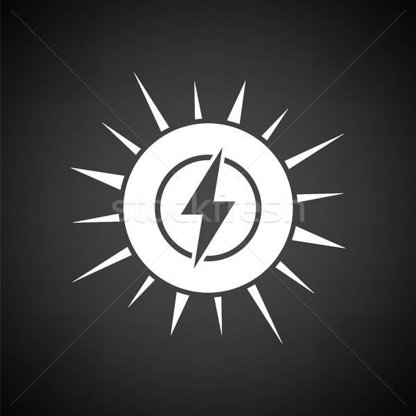 Energia solar ícone preto e branco negócio abstrato fundo Foto stock © angelp