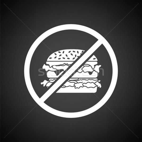 Verboden hamburger icon zwart wit teken zwarte Stockfoto © angelp