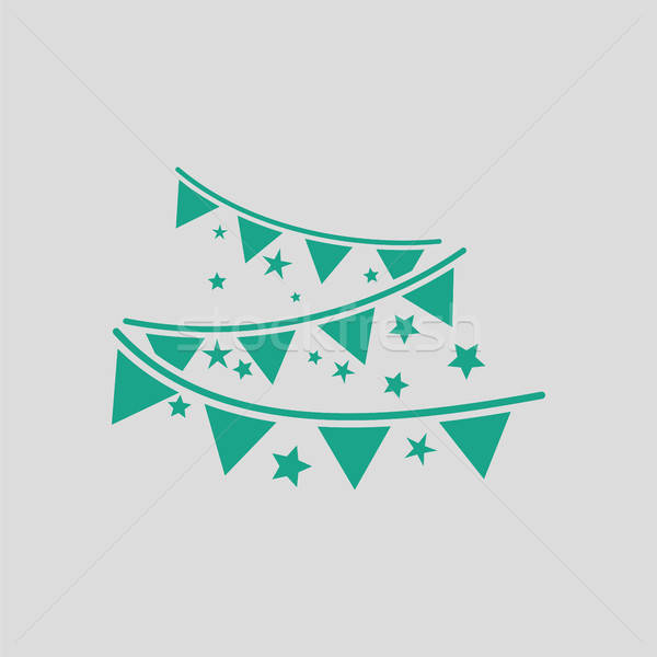 Festa grinalda ícone cinza verde verão Foto stock © angelp