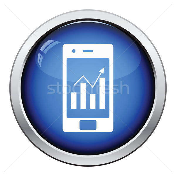 Smartphone analytics diagram icon glanzend knop Stockfoto © angelp