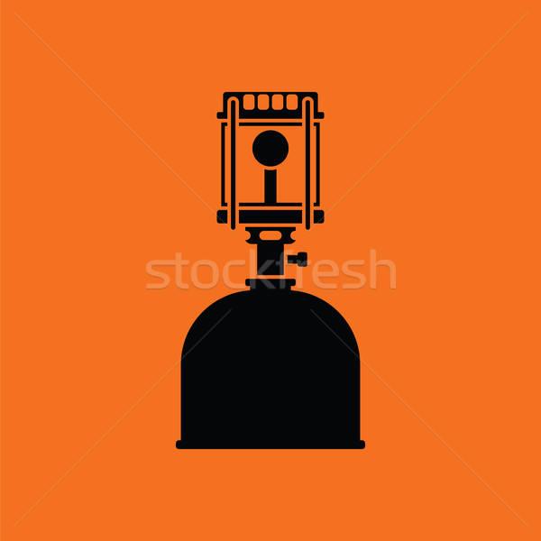 Kempingezés benzin lámpa ikon narancs fekete Stock fotó © angelp