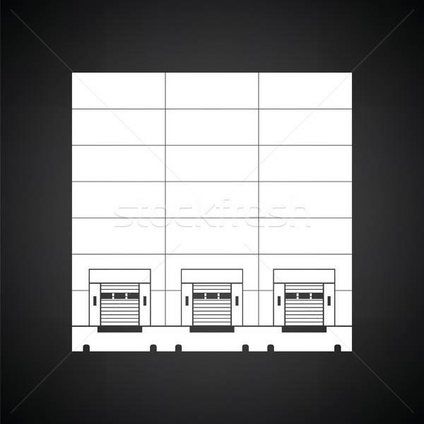 Entrepôt icône blanc noir métal industrie usine Photo stock © angelp