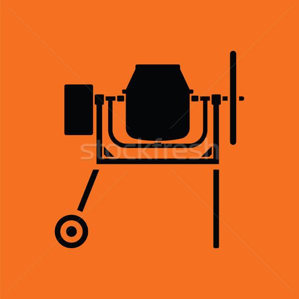 Icon beton mixer oranje zwarte gebouw Stockfoto © angelp
