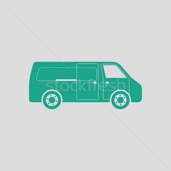 Kereskedelmi furgon ikon szürke zöld üzlet Stock fotó © angelp