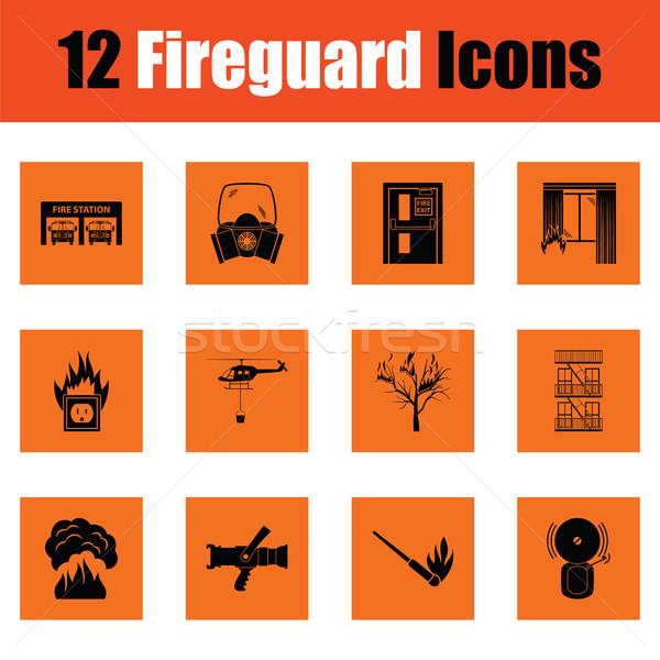 Szett tűz szolgáltatás ikon szett ikonok narancs Stock fotó © angelp