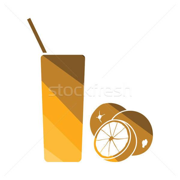 Sinaasappelsap glas icon kleur ontwerp voedsel Stockfoto © angelp