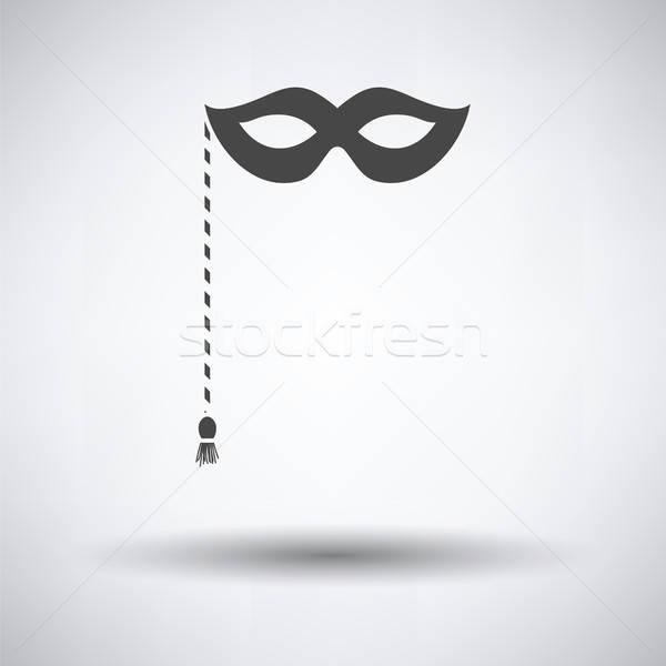 Buli karnevál maszk ikon szürke arc Stock fotó © angelp