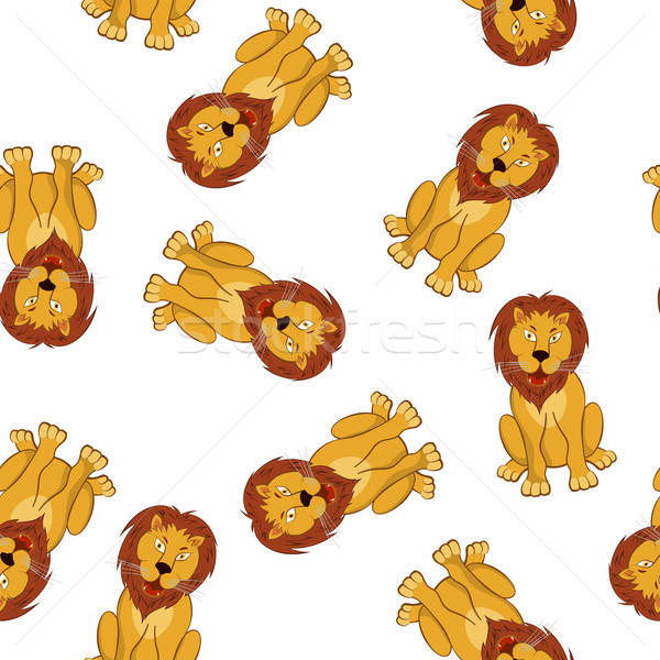 Seamless Funny Cartoon Lion Stock photo © angelp