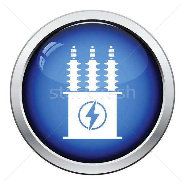 Elektryczne transformator ikona przycisk projektu Zdjęcia stock © angelp